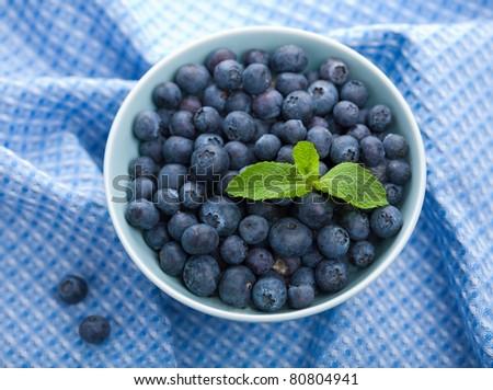 fresh blueberry in bowl - stock photo