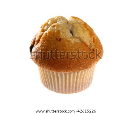 Fresh blueberry muffin isolated on white background with copy space - stock photo