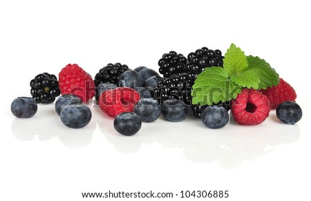 fresh blueberry, raspberry and blackberry isolated on white background - stock photo
