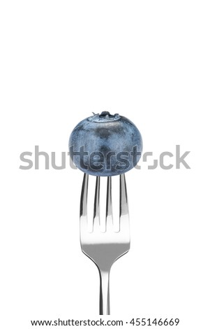Fresh Blueberry With Silver Fork on White Background