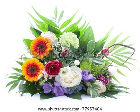 fresh bouquet isolated on white - stock photo