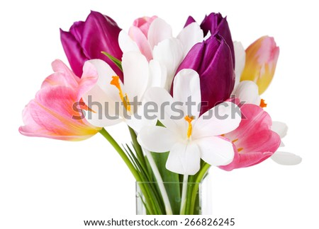 Fresh bouquet with tulips and crocus isolated on white - stock photo