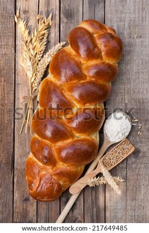 Fresh braided bread - stock photo
