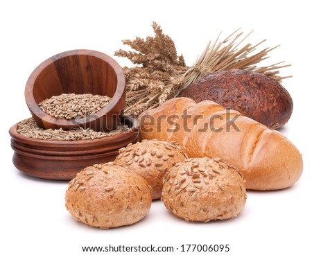 fresh bread and grain bowl isolated on white background cutout - stock photo