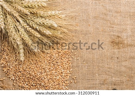fresh bread  and wheat on the sacking - stock photo