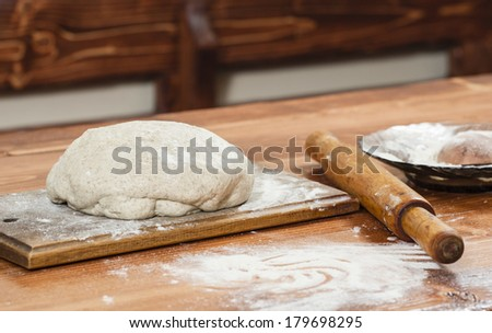 Fresh bread dough ready for baking - stock photo
