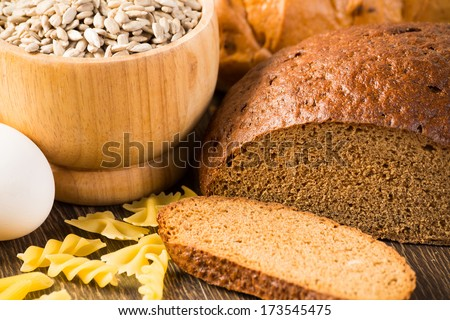 Fresh bread, eggs, pasta and grains. cook fresh bread at home