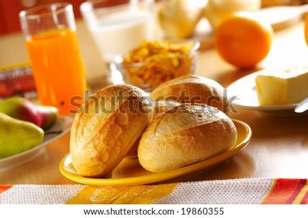 Fresh bread for breakfast - stock photo