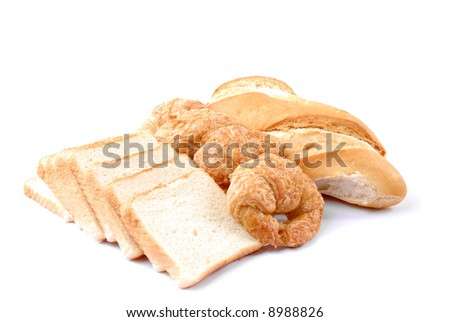 Fresh Bread from bakery on white background .