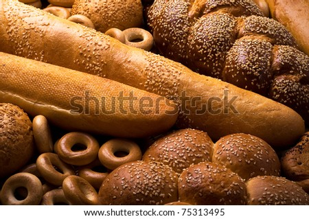 Fresh bread horizontal composition - stock photo
