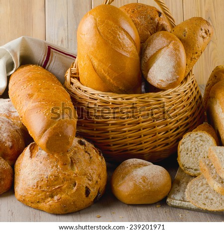 fresh bread in basket  . Selective focus - stock photo