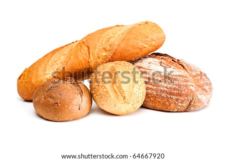 Fresh bread isolated on a white background. - stock photo