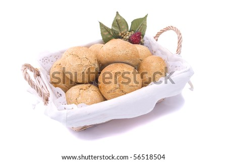 Fresh bread isolated on the white background (selective focus, photographed with shallow DOF) - stock photo