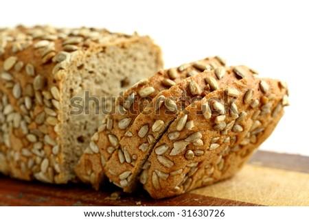 fresh bread isolated on white - stock photo