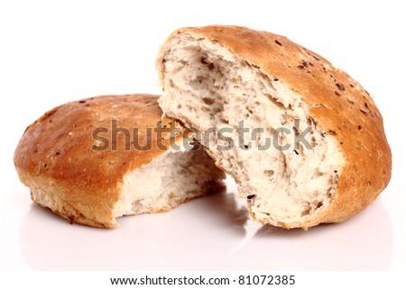 Fresh bread isolated on white background - stock photo