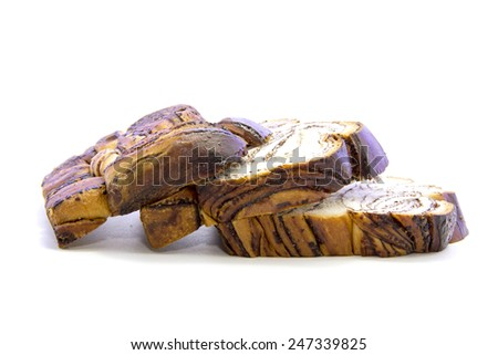 Fresh bread mixed with chocolate flesh layers on white background