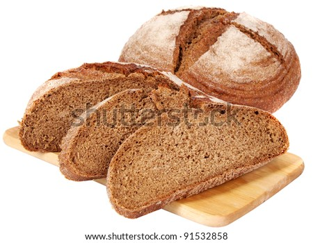 fresh bread on the plate - stock photo