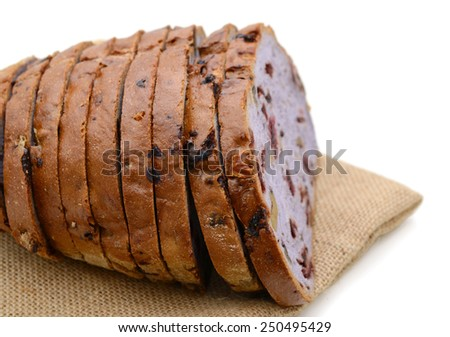 fresh bread sliced isolated on white