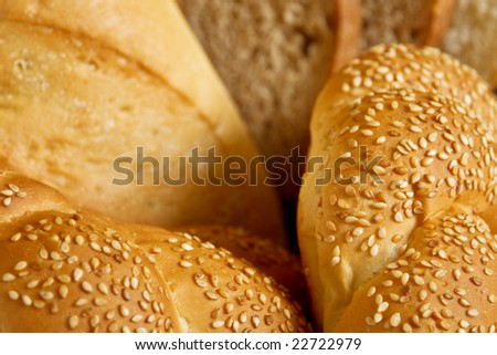 fresh bread with sesame close up