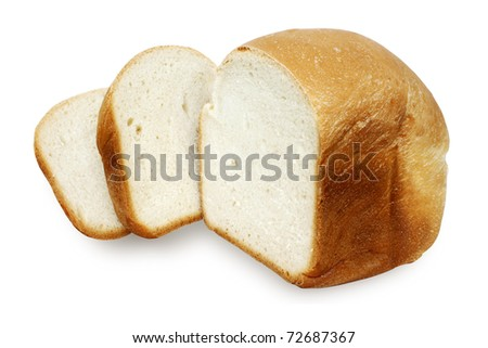 Fresh bread with the cut off slices isolated
