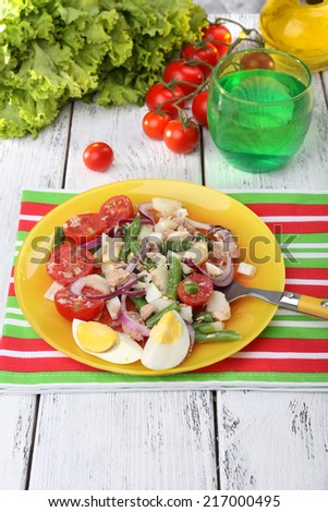 Fresh breakfast consisting of vegetable salad served on the table