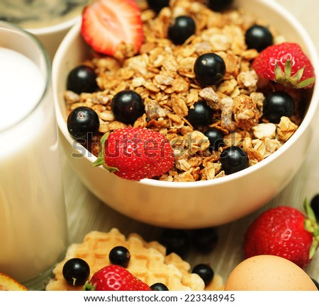 fresh breakfast for good morning - stock photo