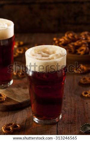 Fresh Brewed Oktoberfest Autumn Ale in a Pint Glass - stock photo