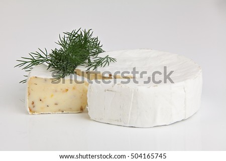 Fresh brie cheese with white mold on a white background on table
