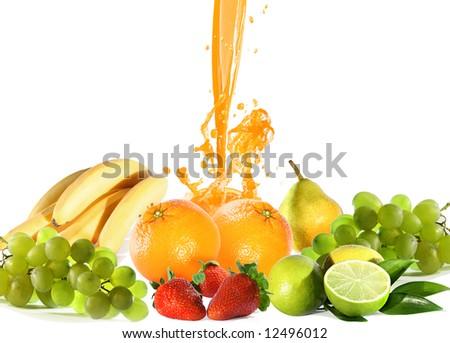fresh bright juicy fruits - stock photo