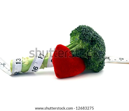 Fresh broccoli healthy heart and lifestyle concept over a white background