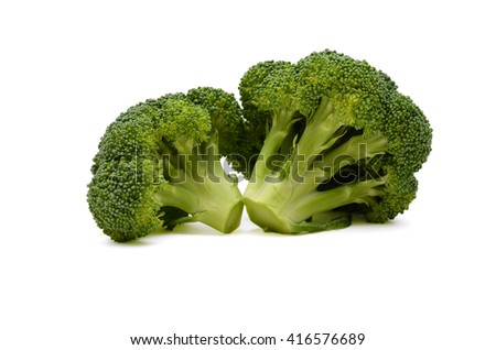 fresh broccoli on the white background - stock photo