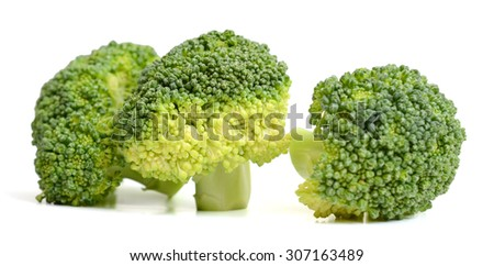 fresh broccoli vegetables isolated on white  - stock photo