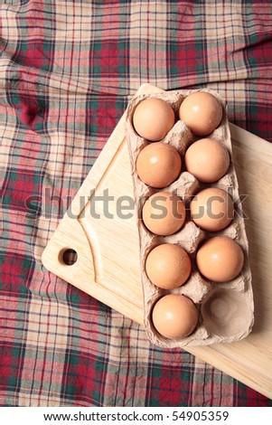 Fresh brown eggs - stock photo