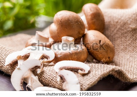Fresh brown whole uncooked Agaricus mushrooms on a hessian sack, one of the most cultivated edible mushrooms in the world and a popular ingredient in savory and vegetarian cooking - stock photo