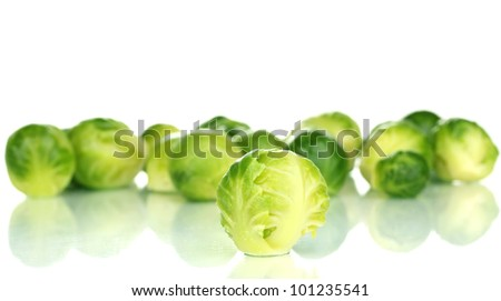 Fresh brussels sprouts isolated on white - stock photo