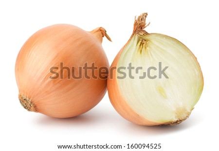 Fresh bulbs of onion on a white background - stock photo