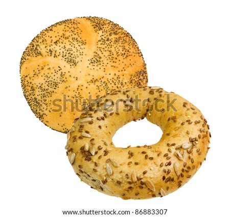 fresh bun and bagel with sesame and sunflower seeds on a white background