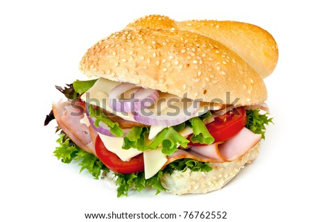 Fresh bun with ham, lettuce, red onion, swiss cheese and tomato.  Isolated on white. - stock photo
