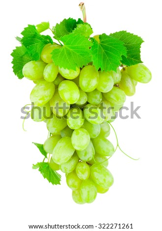 Fresh bunch of green grapes isolated on white background - stock photo