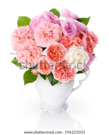 Fresh Bunch of Old Fasioned Roses isolated over white. - stock photo