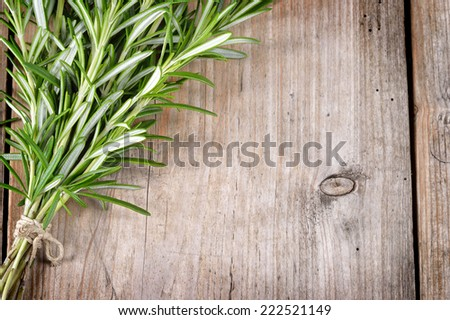 Fresh bunch of rosemary on wooden table. Aromatic evergreen herb, many culinary and medicinal uses. - stock photo