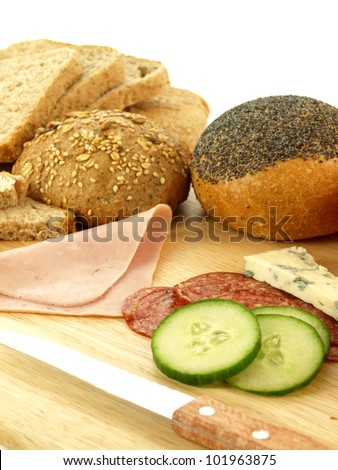 Fresh buns, bread and ham for breakfast