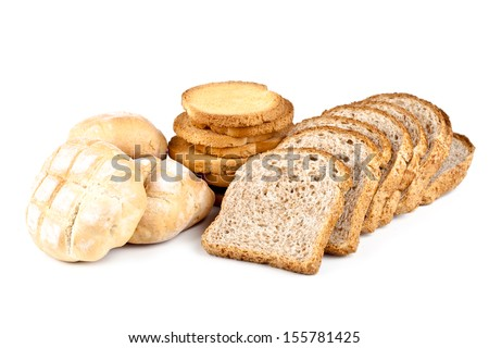 fresh buns, crackers and sliced bread isolated on white background