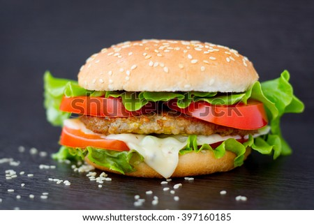 Fresh burger on black background close-up