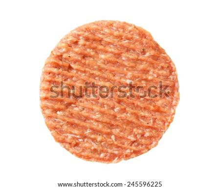 Fresh burger patty on white background - stock photo