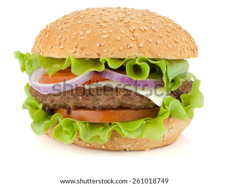 Fresh burger with beef, cheese, onion and tomatoes. Isolated on white background