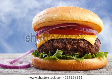 Fresh burger with red onions on wooden board , blue sky background - stock photo