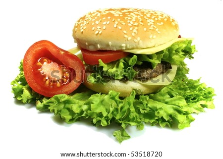 fresh burger with salad, cheese, meat and tomato - stock photo