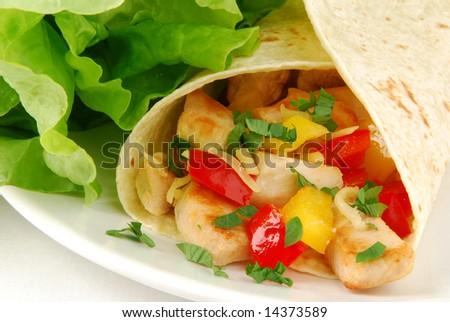 Fresh burrito closeup - stock photo