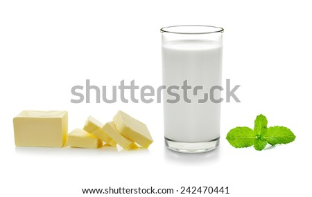 Fresh butter mint and milk isolated on white background - stock photo